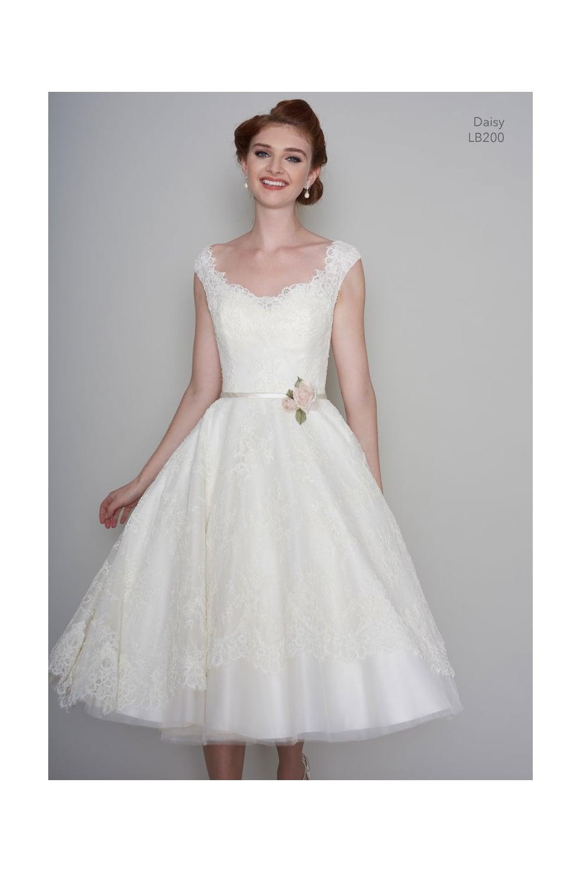 LB200 DAISY Loulou Tea Length 1950s Vintage Style Short Wedding Gown