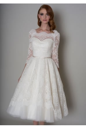 DELILAH Tea Length Vintage 1950s Short Wedding Dress With Sleeves
