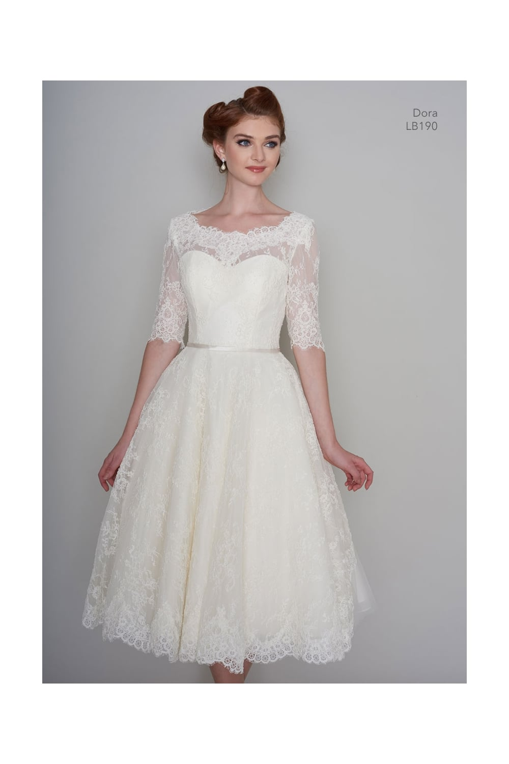 10b939c34f9c5 DORA Tea Length Vintage Lace 1950s 60s Short Wedding Dress With 1/2 Sleeve