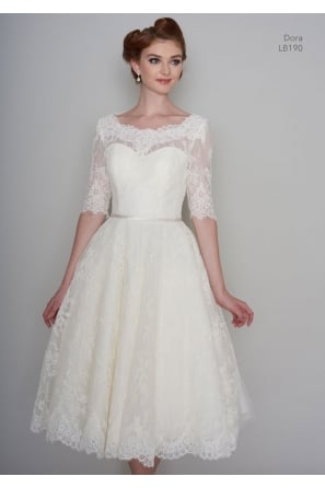 DORA Tea Length Vintage Lace 1950s 60s Short Wedding Dress With 1/2 Sleeve