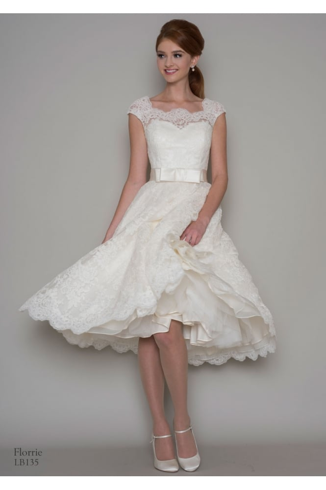 Loulou FLORRIE Lace Tea Length Short Wedding Dress With Cap Sleeve