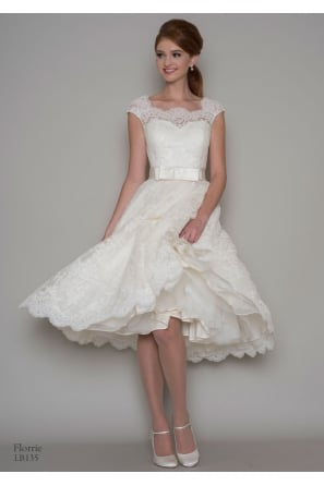 FLORRIE Lace Tea Length Short Wedding Dress With Cap Sleeve