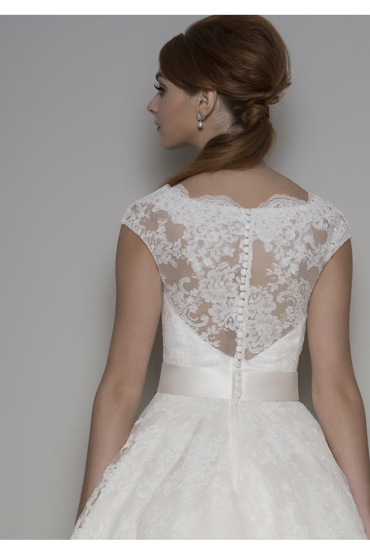 Louou bridal florrie 1950s tea length lace short wedding dress sleeves florrie lace tea length short wedding dress with cap sleeve junglespirit Image collections