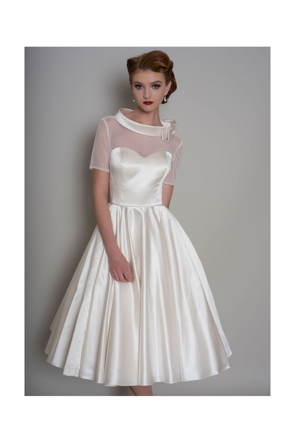 Hattie tea length satin 1950s wedding dress with sleeve for Wedding dresses tea length with sleeves