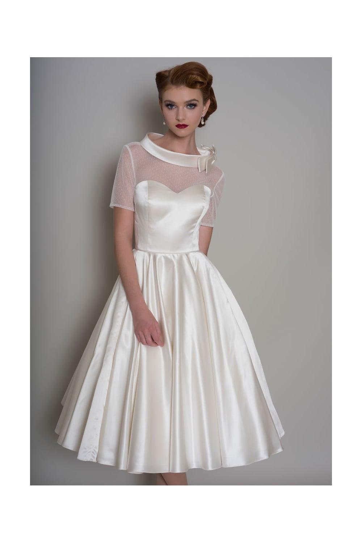 Hattie Tea Length Satin 1950s Wedding Dress With Sleeve