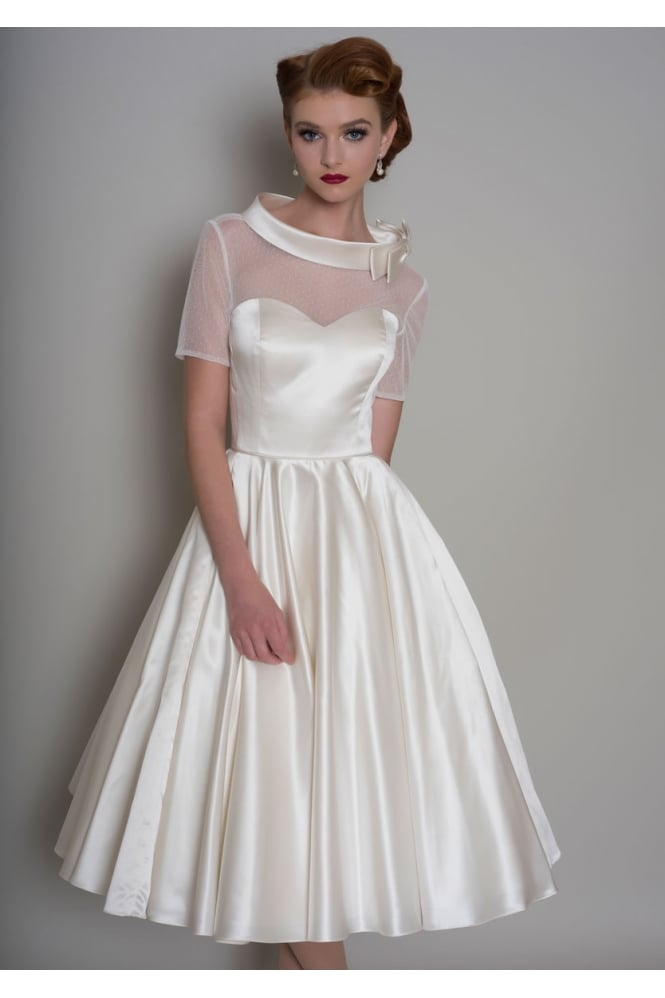 Loulou HATTIE Tea Length Satin 1950s Short Wedding Dress With Sleeves