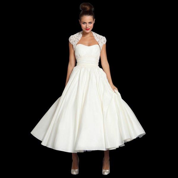 Jenna Tea Length Vintage Style Wedding Dress & Lace Bolero