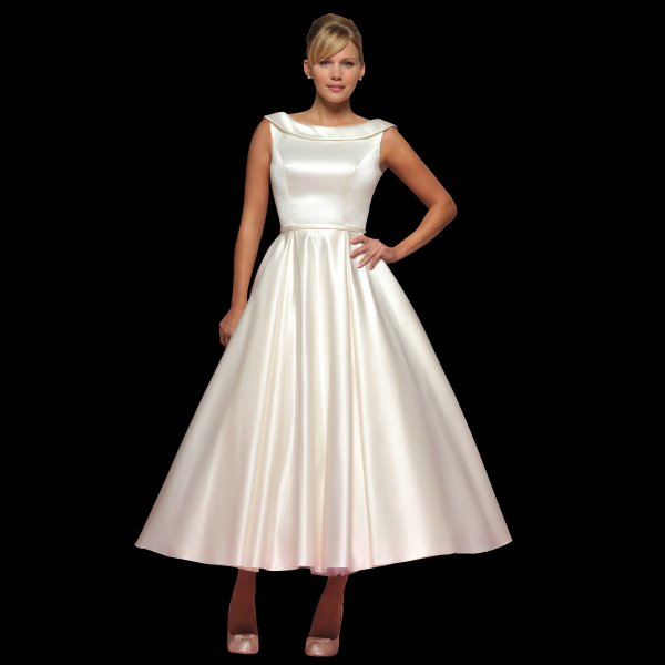 Joanne Tea Length Satin Wedding Dress LB36 With Boat Neck