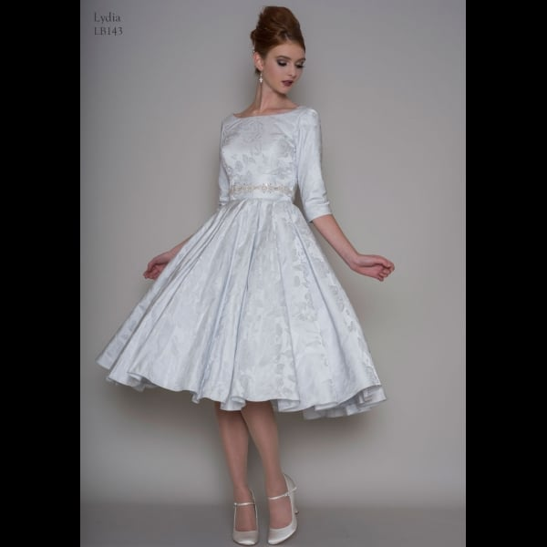 Loulou Lydia Blue 1950s Tea Length Vintage Wedding Gown - Short ...