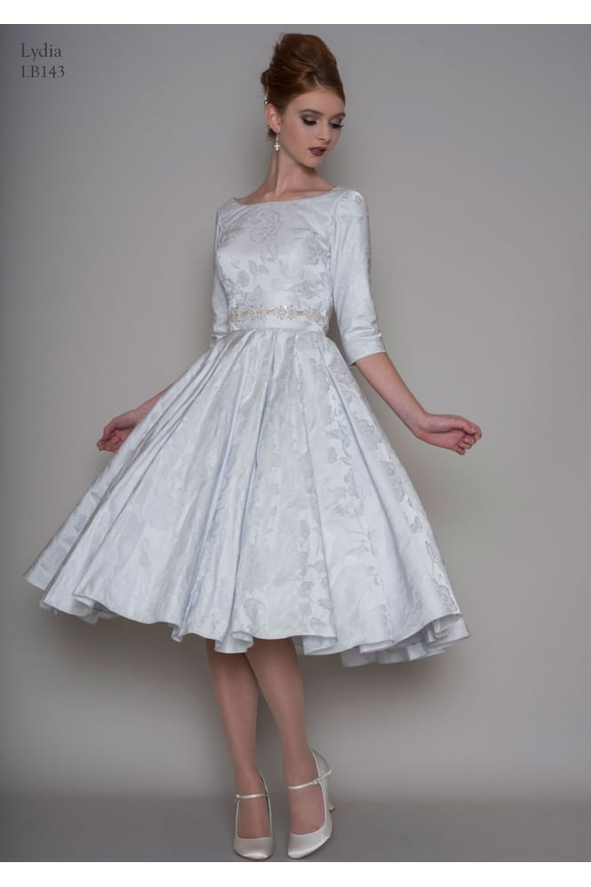 Loulou LYDIA Blue Brocade 1950s Vintage Tea Length Short Wedding Dress With Sleeves
