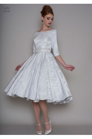 LYDIA Blue Brocade 1950s Vintage Tea Length Short Wedding Dress With Sleeves