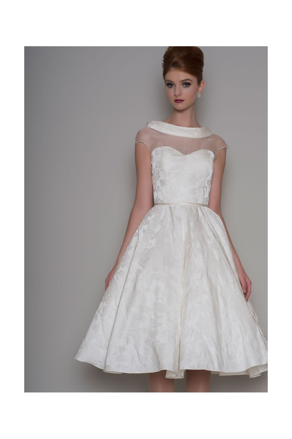 Mabel Tea Length Audrey Hepburn Style Wedding Dress In Brocade