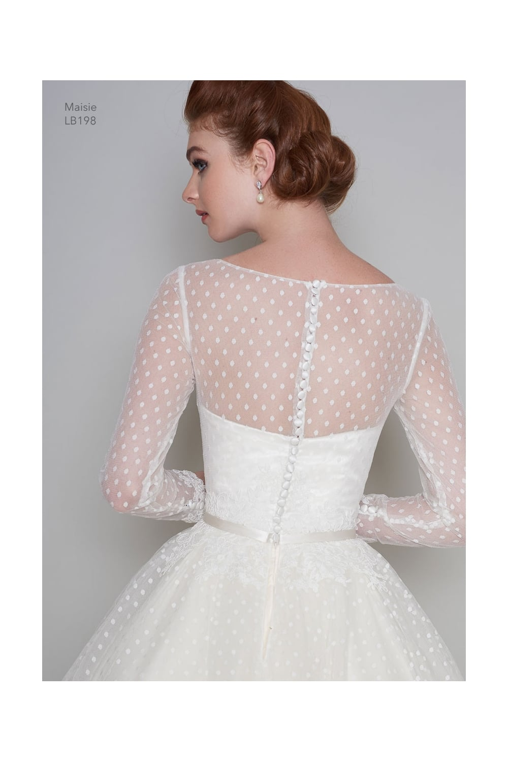 Maisie Tea Length Vintage 1950s 60s Polka Dot Short Wedding Dress Long Sleeve