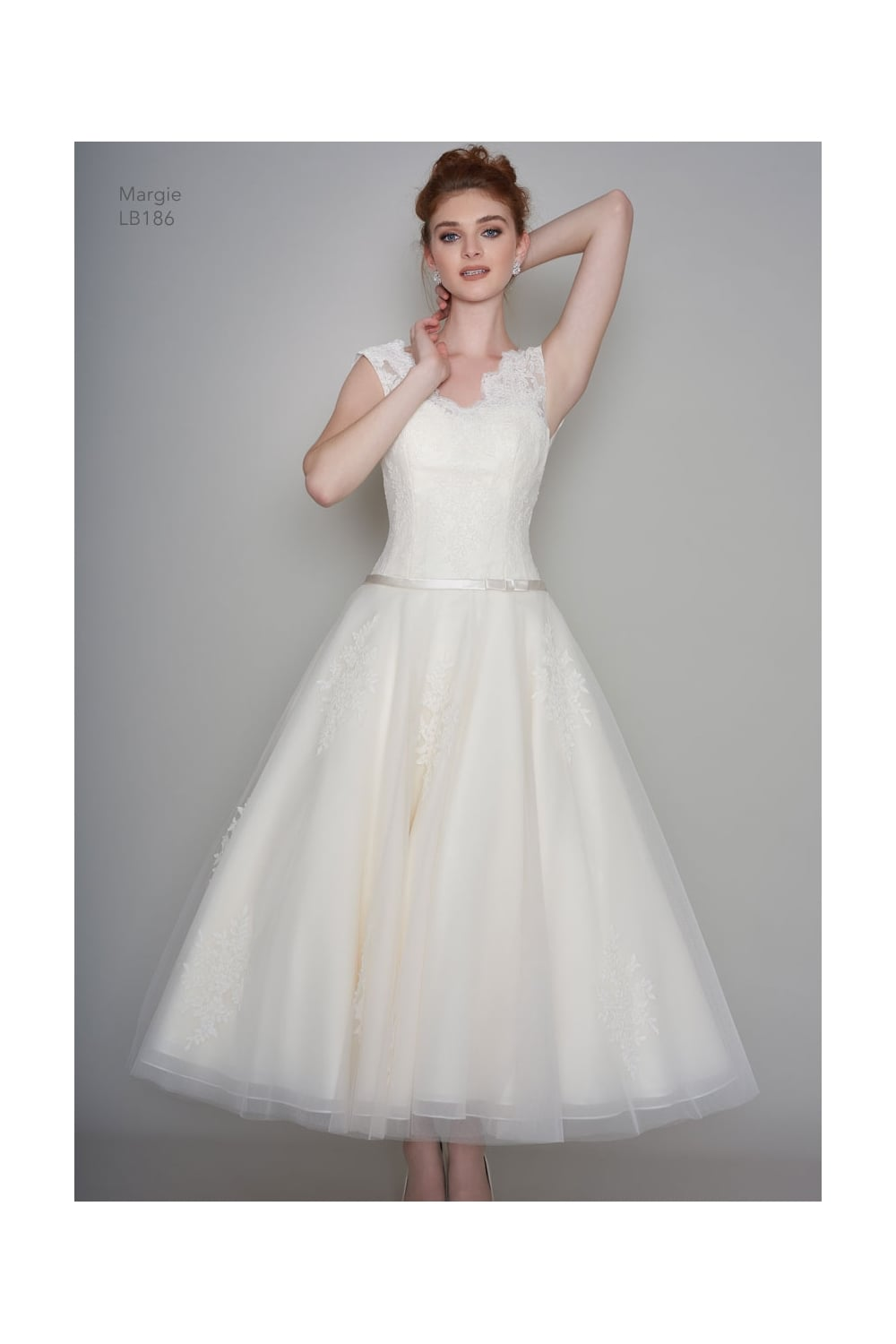 Lb186 margie loulou bridal calf ankle tea length short for Ankle length wedding dress with sleeves