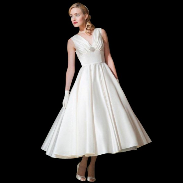 Marilyn Satin Tea Length Wedding Dress by Loulou Style LB55