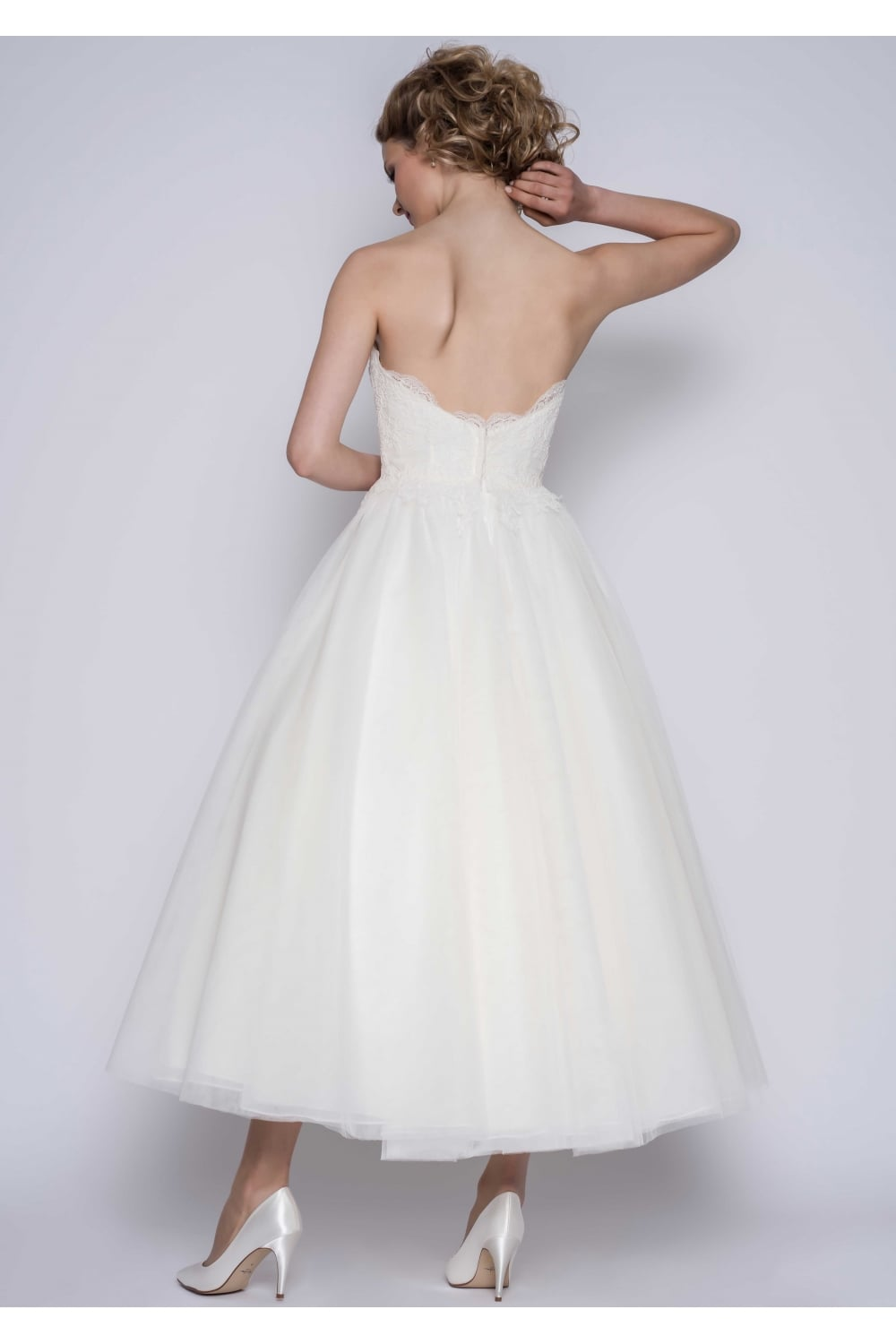 Loulou Bridal Matilda Calf Ankle Lace Strapless Wedding Gown