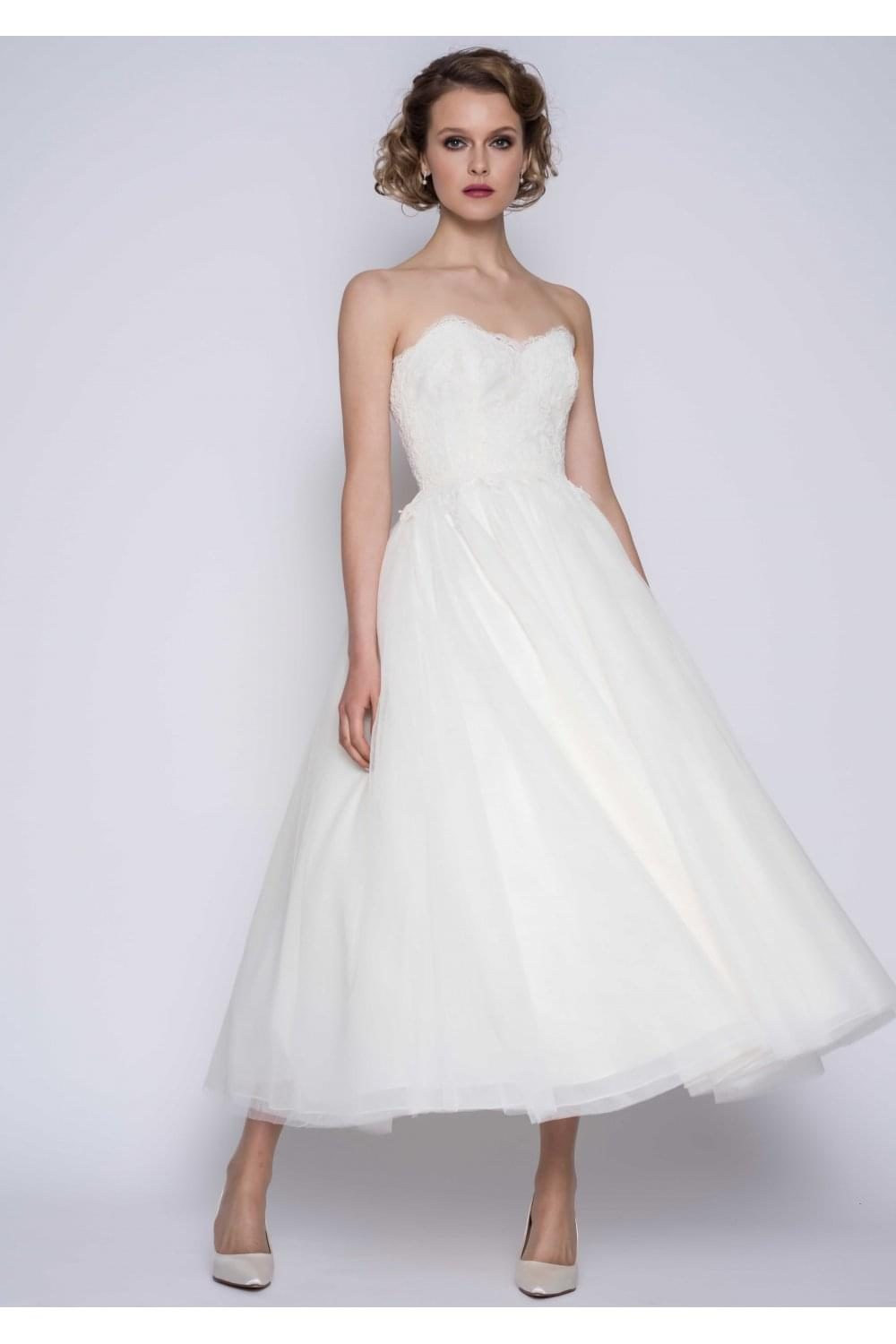 Matilda Calf Ankle Lace Strapless Wedding Gown