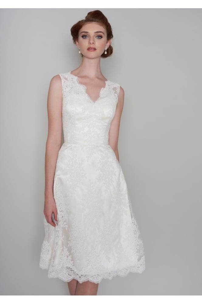 Loulou mia knee length lace wedding dress short knee tea length mia knee length lace wedding dress junglespirit Images