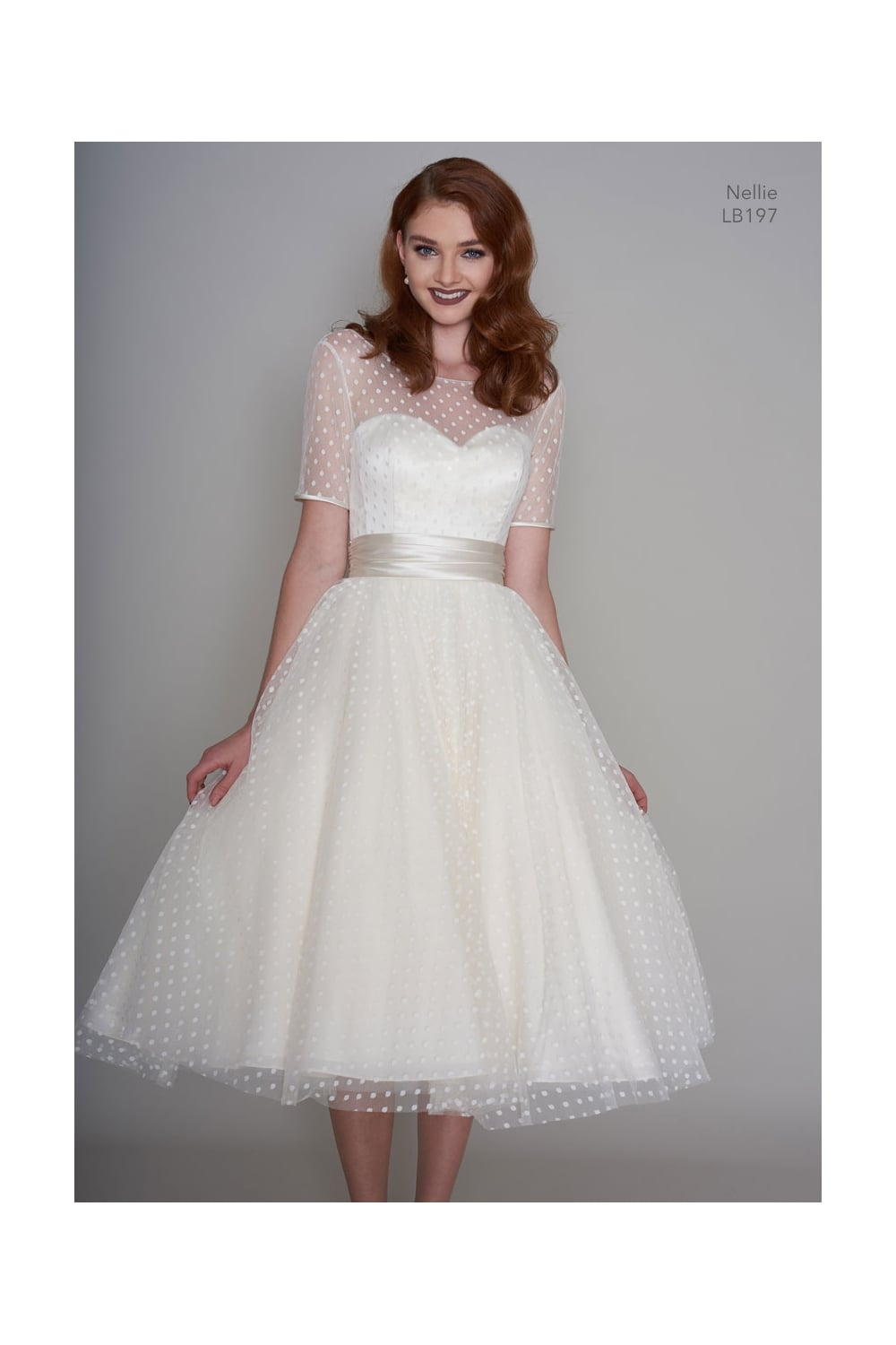 NELLIE 1950s Tea Length Polka Dot Short Vintage Wedding Dress With Sleeves