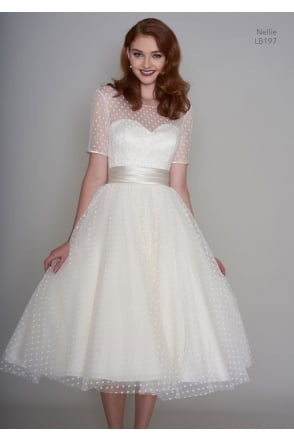 Mocha Tea Length Vintage Wedding Dress