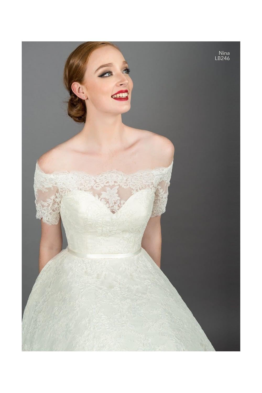NINA LB246 Loulou Bridal Short Knee Tea Length Lace Off Shoulder Gown