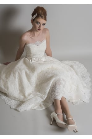 POSY Tea Length Lace 1950s Short Wedding Dress