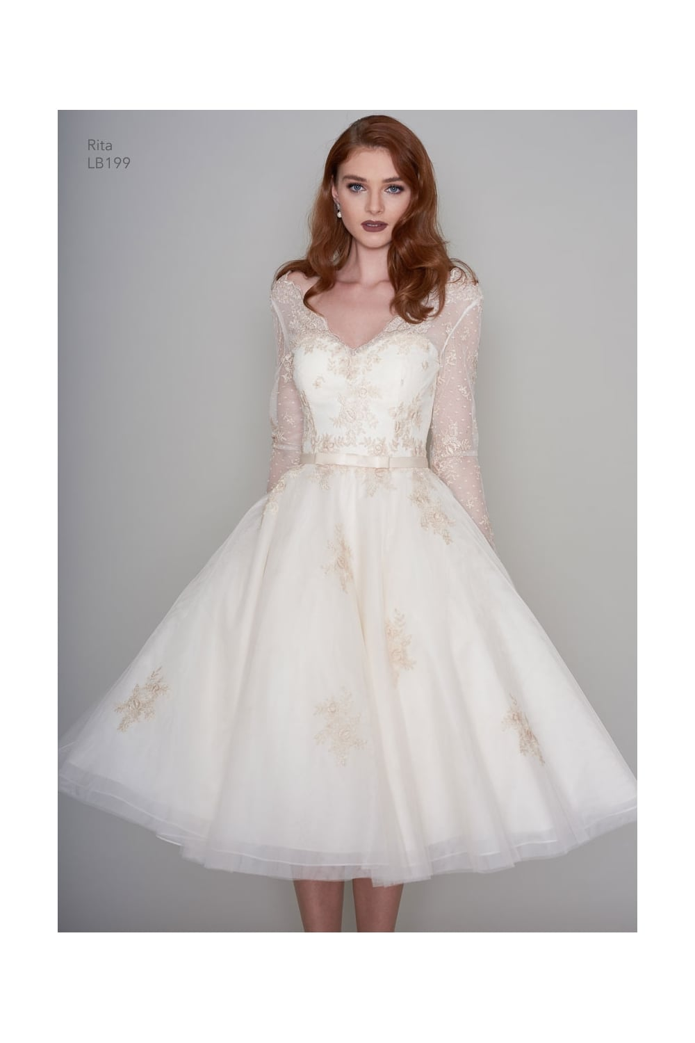 Loulou Rita Tea Length Vintage Inspired Short Gold Wedding Dress With Sleeves