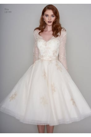 RITA Tea Length Vintage Inspired Short Gold Wedding Dress With Sleeves