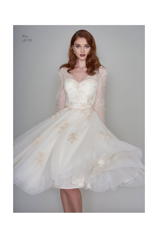 RITA Tea Length Vintage Inspired Short Gold Wedding Dress With Sleeves