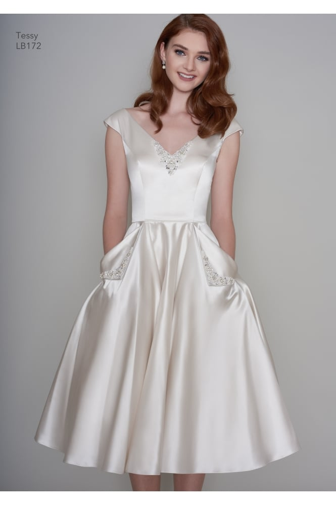 Loulou TESSA Satin Tea Length Vintage 1950s Inspired Short Wedding Dress With Pockets