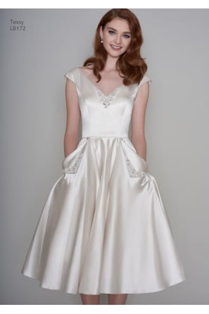 TESSA Satin Tea Length Vintage 1950s Inspired Short Wedding Dress With Pockets