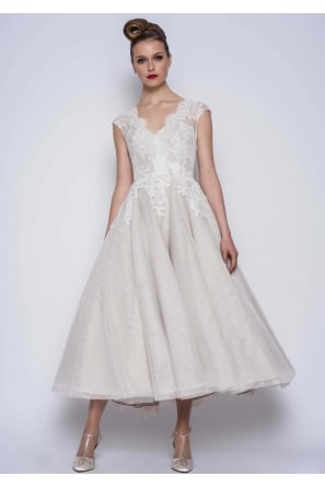 THEA Calf Length vintage Wedding Gown