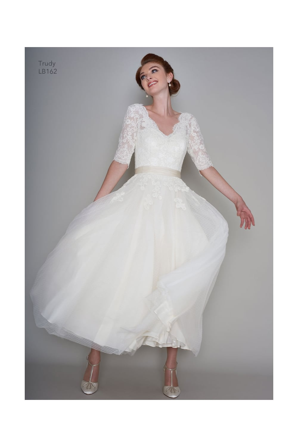 Wedding Dress With Sleeves.Loulou Bridal Trudy Vintage Calf Ankle Length Wedding Gown With Sleeves