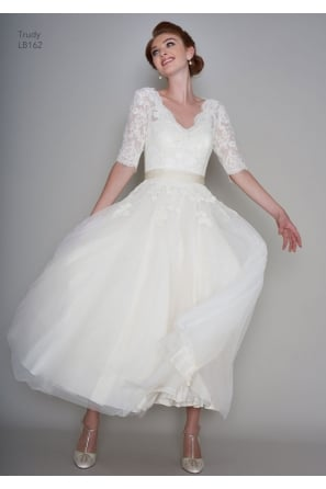 TRUDY Vintage Calf Ankle Length Wedding Gown with Sleeves