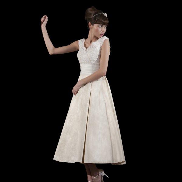Vintage Wedding Dresses Brighton: Peony Tea Length Wedding Dress With Lace Top & Short