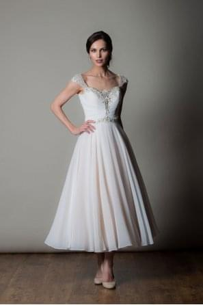 AMALFI Tea Calf Length Chiffon Wedding Dress