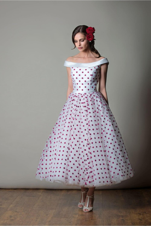 Arizona Calf Tea Length Retro 50s Wedding Dress In Polka