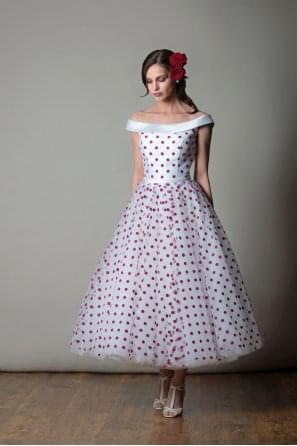 ARIZONA Polka Dot Spot Off Shoulder Wedding Gown