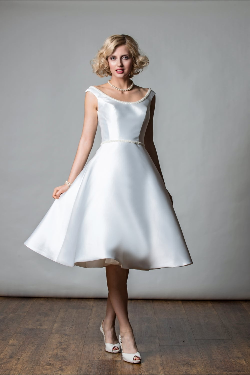 1067 Rita Mae Alana Tea Length Mikado Pearl Short Vintage Wedding Gown
