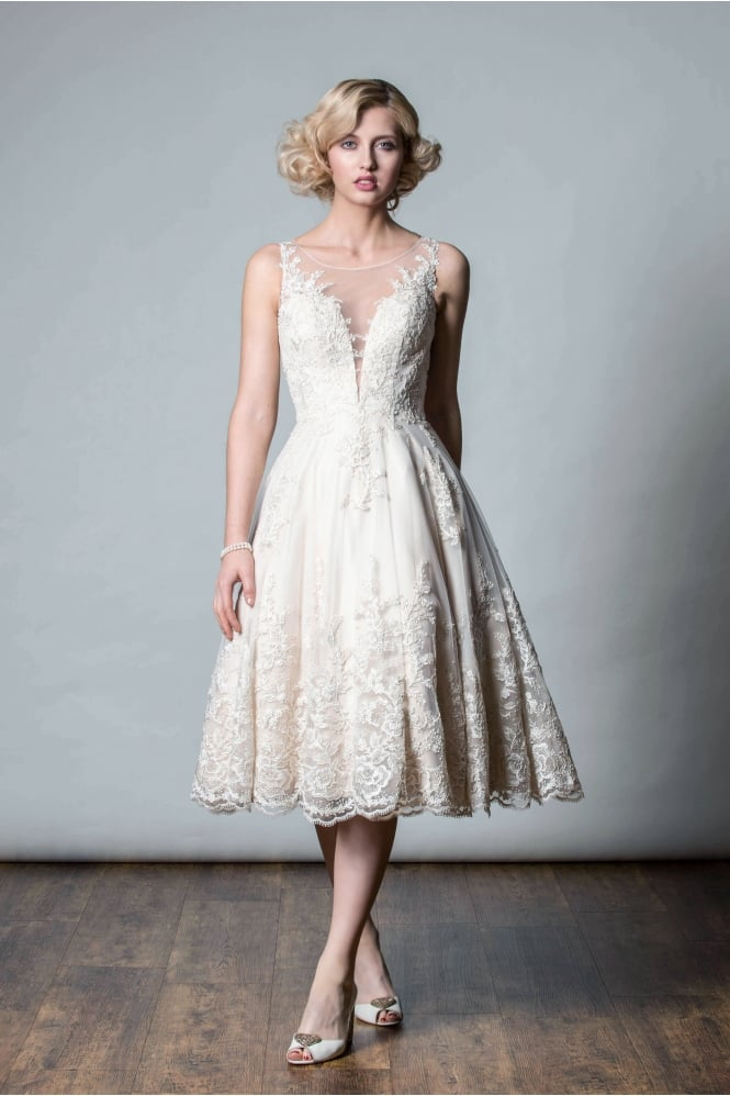 Rita Mae ANASTASIA Tea length champagne lace short wedding gown