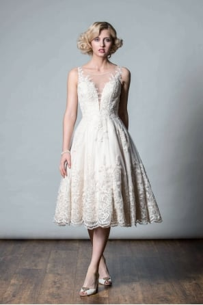 ANASTASIA Tea length champagne lace short wedding gown