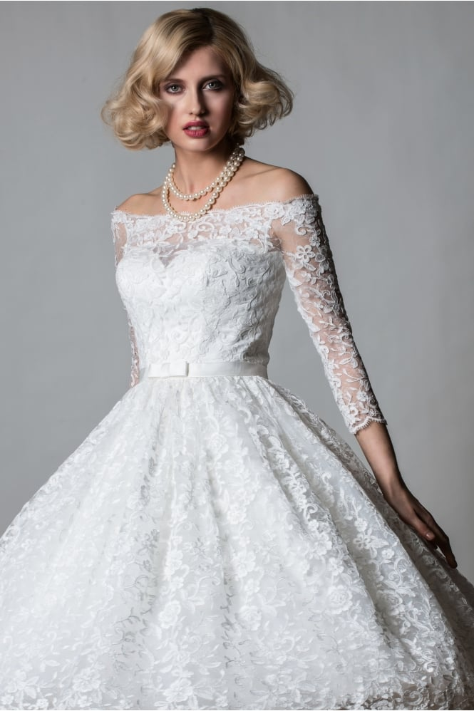 Lorna 1064 off shoulder lace tea length short vintage 50s for Vintage tea length lace wedding dress