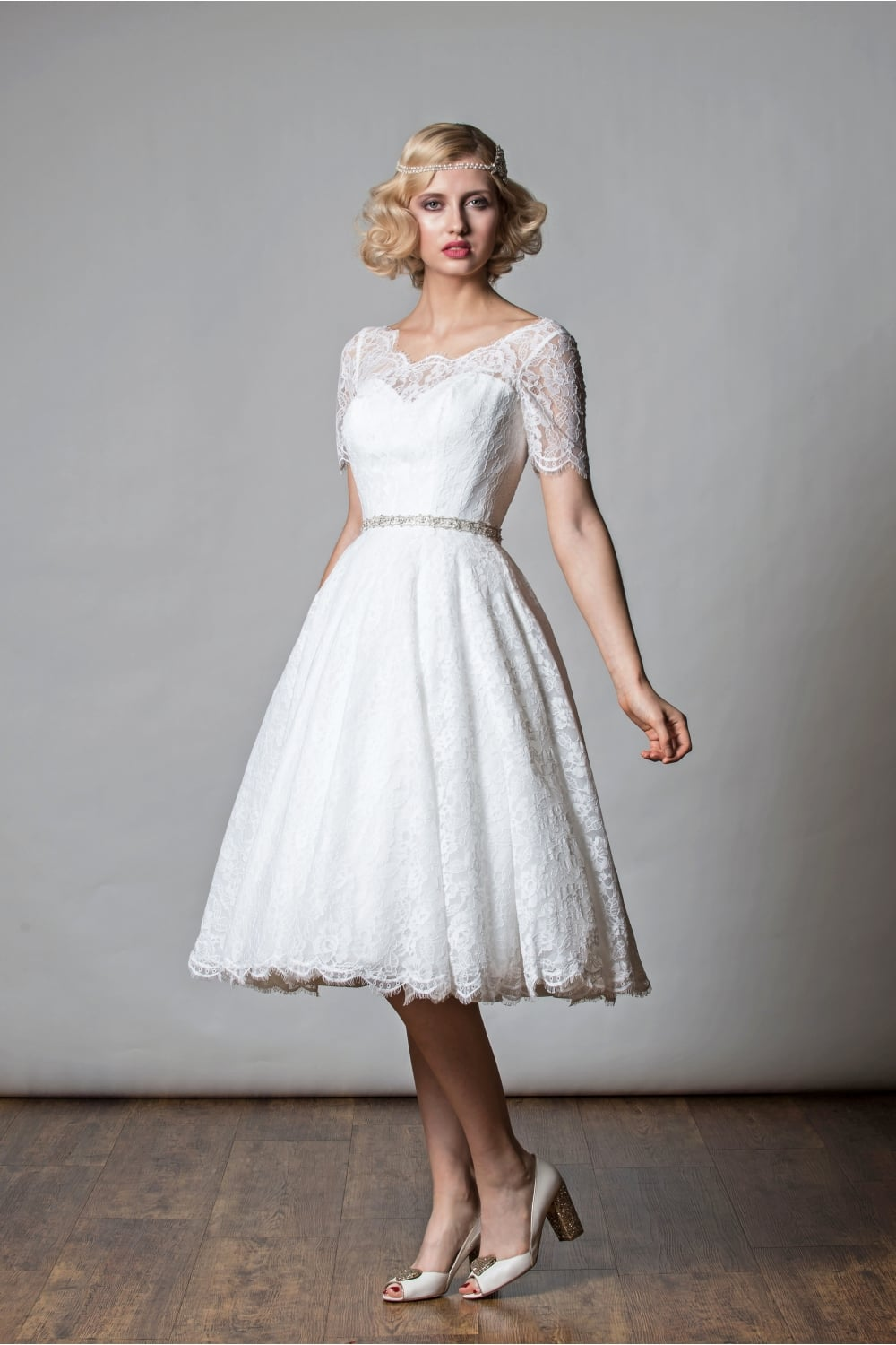 1068 PENNY Tea Length Short Wedding Dress 1920s Vintage Half Sleeve