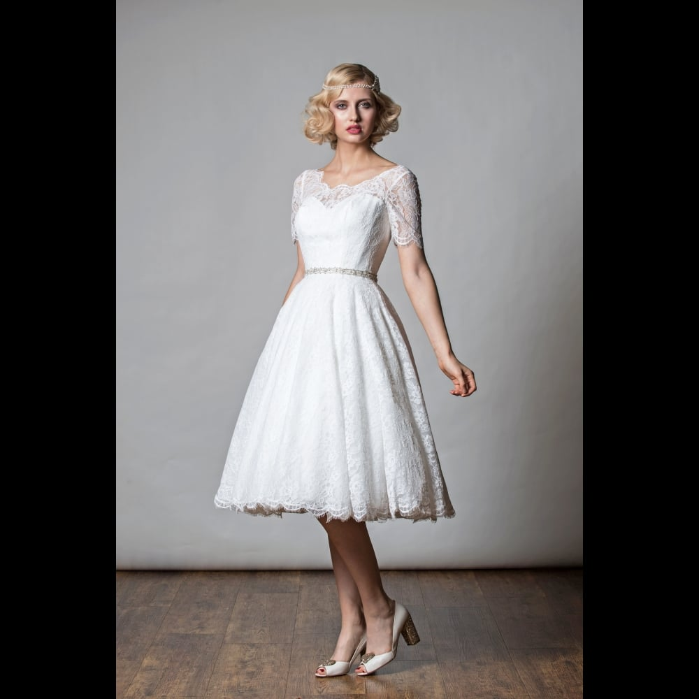 1068 Penny Tea Length Short Wedding Dress 1920s Vintage Half Sleeve