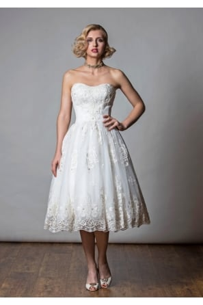 SAMSARA Tea Length Vintage Inspired Lace Embroidered Wedding Dress
