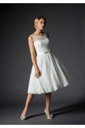 SOFIA Alternative Informal Stripe Tea Length Short Wedding Dress In Lace and Tulle