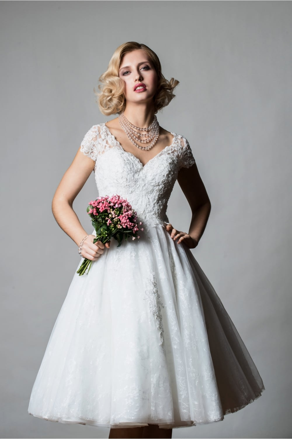 Tiana Tea Length Short Wedding Dress With Cap Sleeve In Lace Sparkly Tulle