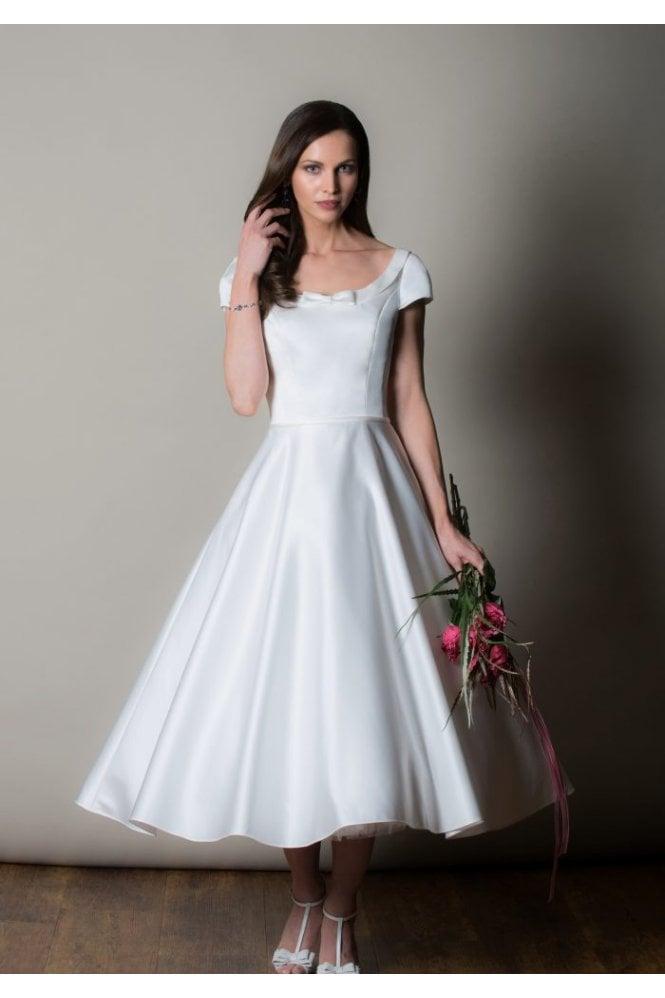 Capri Tea Calf Length Satin 1950s Wedding Dress With Cap