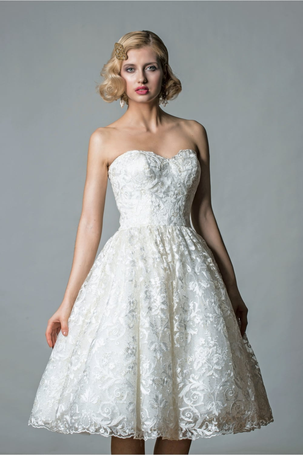 1062 Emily Tea Length Vintage Inspired Gold Lace Short Wedding Gown