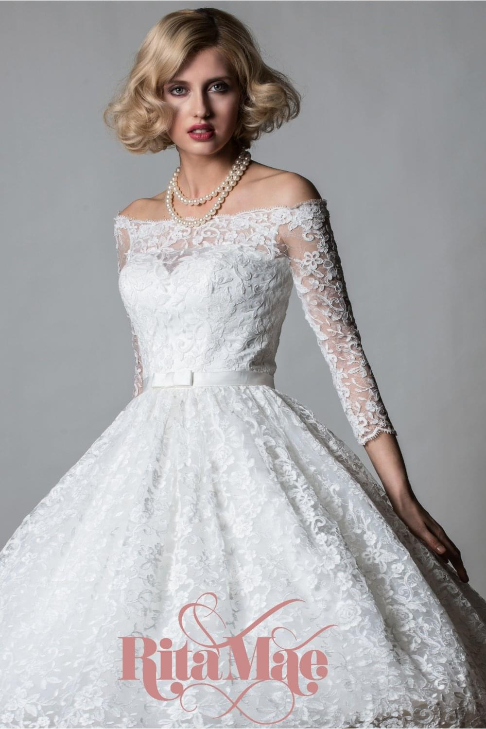 Lorna Tea Length Lace Off Shoulder Vintage Style Wedding Dress